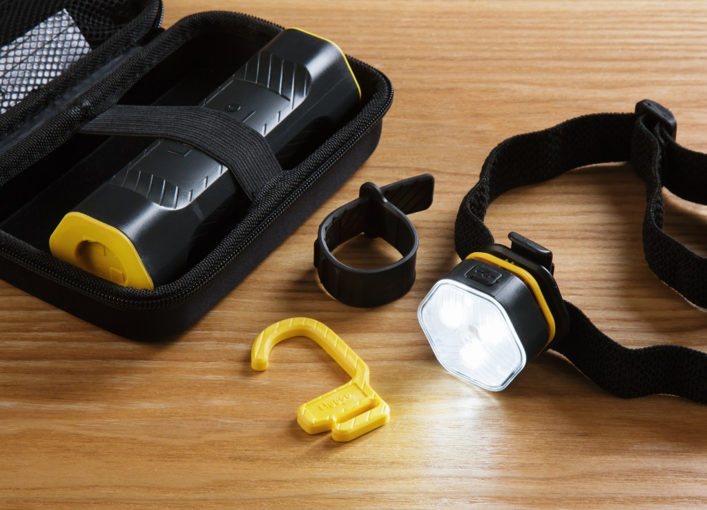 Liggoo's convertible LED work light is configured into a headlamp