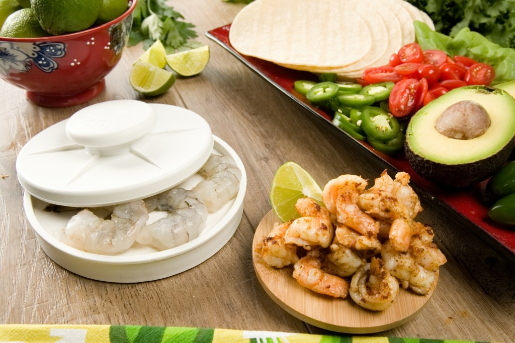 Shrimp are easily sliced in half thanks to Rapid Slicer, ready to make shrimp tacos with all the fixings