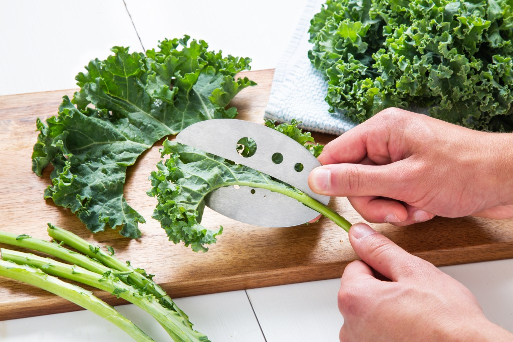A person is seen trimming kale off the stems with Raw Rutes stripping tool
