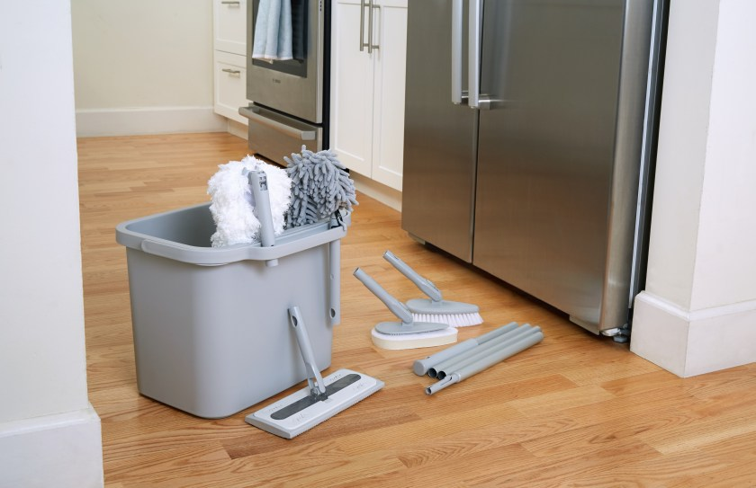 Satto's modular home cleaning kit is seen in a kitchen