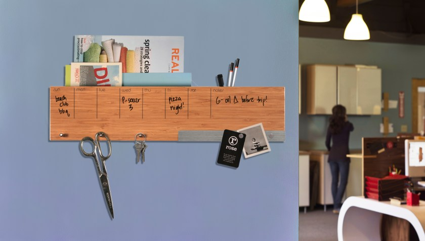 Mail, keys and notes are seen organized in Three By Three's Sort It Out Caddy
