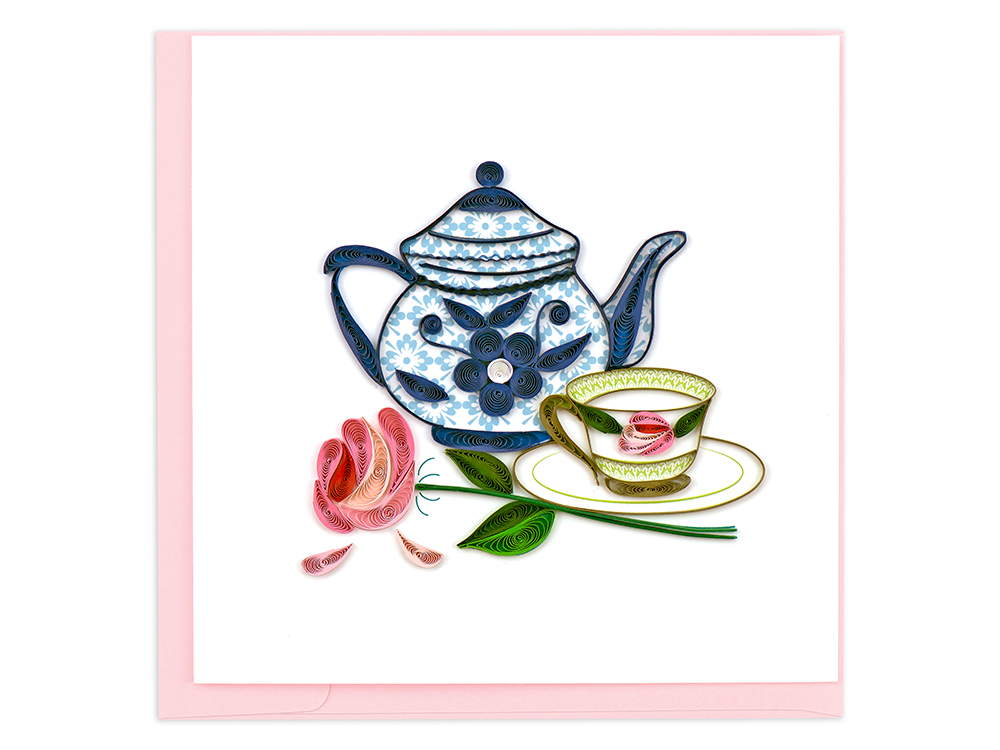 A beautiful quilled card featuring a tea pot and cup of tea from Quilling Card is seen