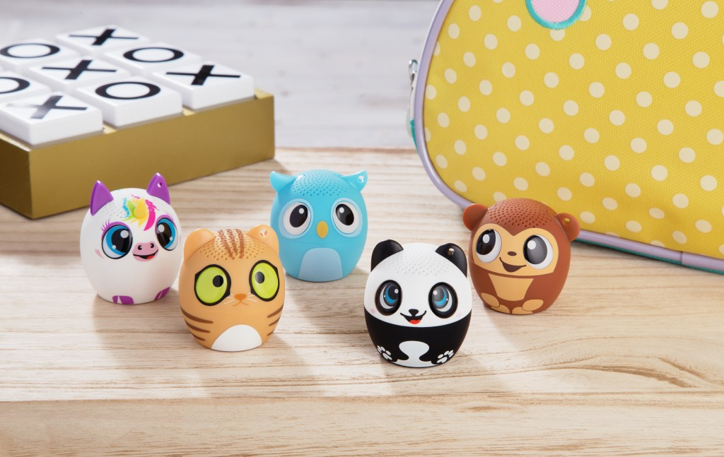 Assorted animal bluetooth speakers from My Audio Pet are seen on a table