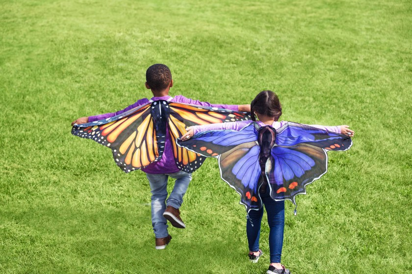 Two kids are seen running in a field wearing butterfly play wings