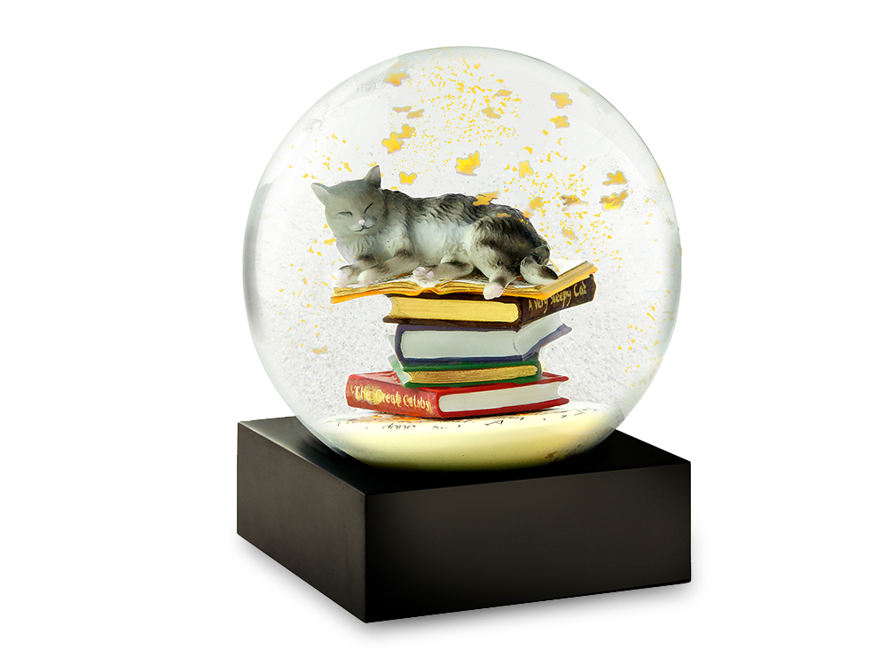 A sleepy cat lays on top of a pile of books surrounded by butterflies in this unique snow globe from CoolSnowGlobes