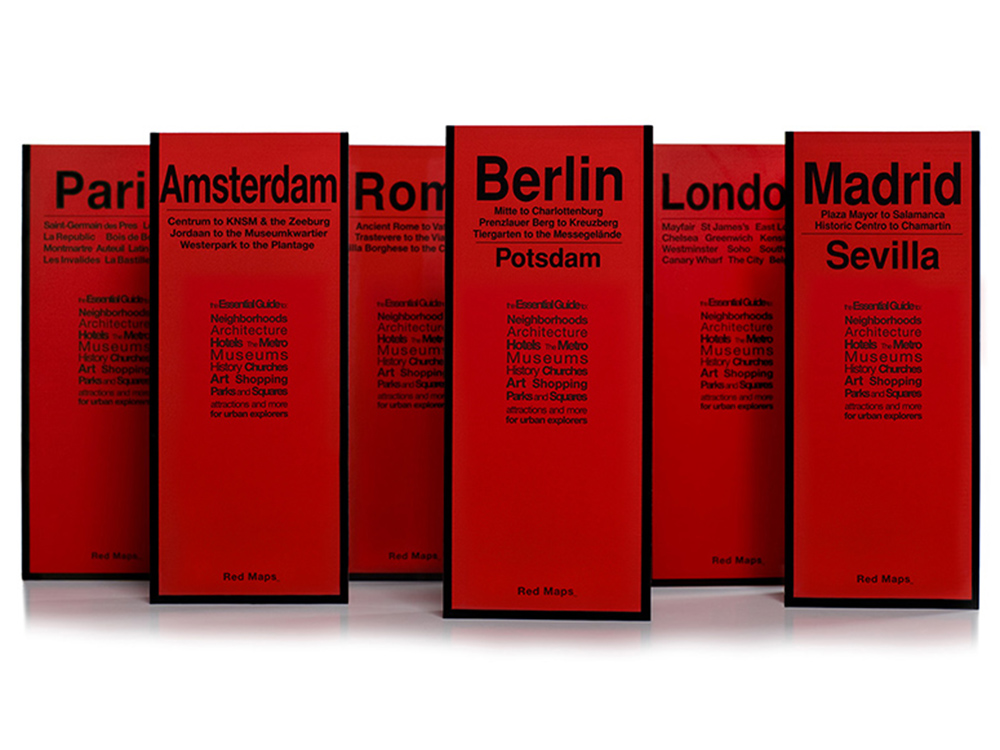 Red Maps for Paris, Amsterdam, Rome, Berlin, London & Madrid
