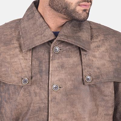 Goatskin leather coat