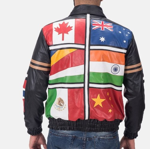 The back view of the jacket that was shot on an in-house model that was shown to Fred for approval.