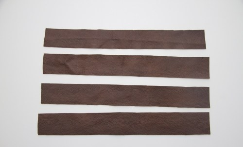 Fuse the measured leather strip with one that is bigger and then proceed to the next step.