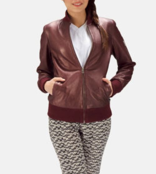 Maroon leather bomber jacket