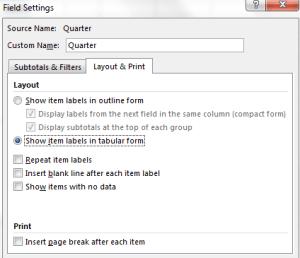 Setting tabular form on pivot tables