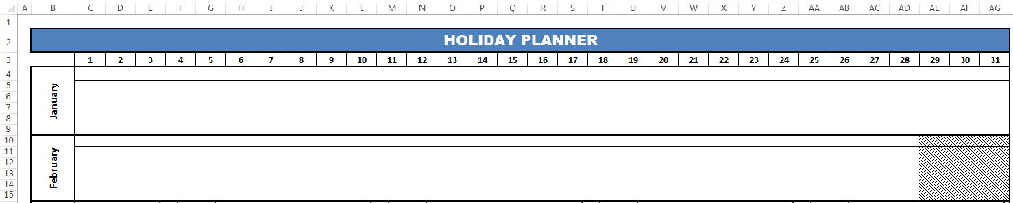 Header layout of planner