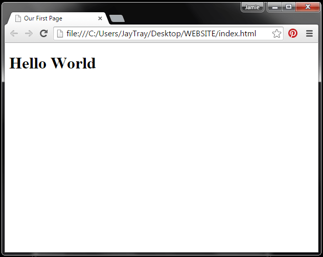 Image of screen with html page displayed in a browser
