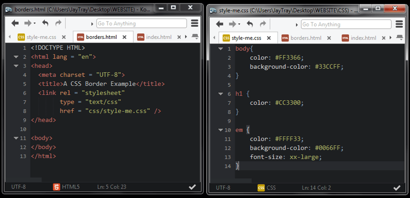 blank css and html file together