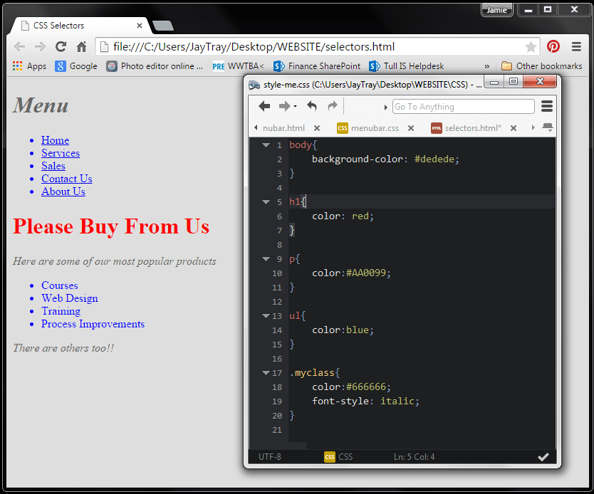 example of css class selector