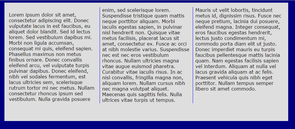 how layout with columns first example looks in browser