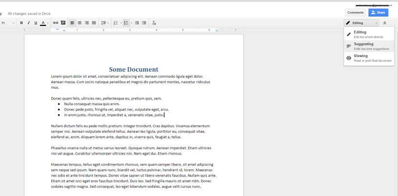 using google docs for more effective meetings lets you make suggestions