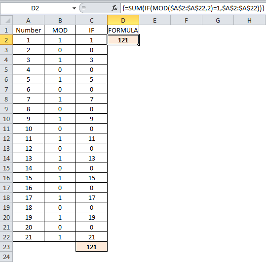 Image showing final file on how to sum odd or even numbers in Excel