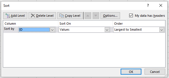 Image of dialog box for sorting
