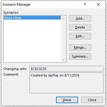 Scenario manager dialog box listing scenarios