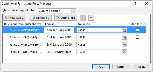 IMAGE SHOWING RULES TO FORMAT DATES TO INCLUDE ST ND RD AND TH