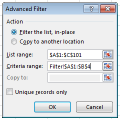 image showing second advanced filter criteria