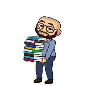 image of character looking bored with books