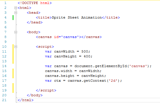 first draft code for sprite sheet animation