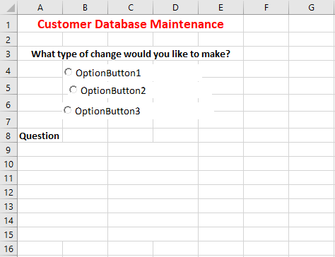 Image showing 3 unformatted option buttons in Excel