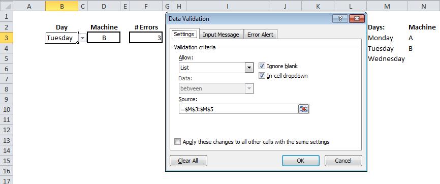 image showing data validation set up