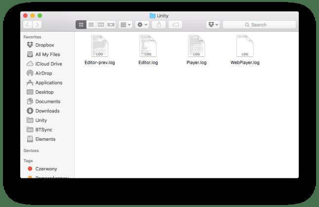 mac unity logs folder