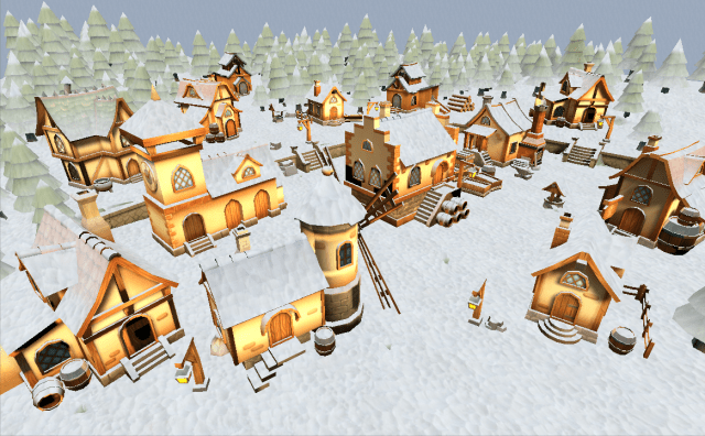 Low Poly 3D Snow Village Unity Asset Shader