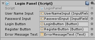 LoginPanel inspector window.