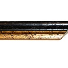 Bevelled wood frame with distressedgold inner edge. 27mm