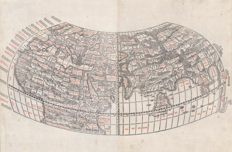 The world as understood in Antiquity. Sylvanus, 1511. Ptolemaic world map on an oval projection. Rare. [WLD3575]