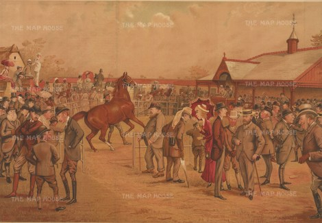 "Vanity Fair: Tattersall's, Newmarket. 1887. An original antique chromolithograph. 21"" x 15"". [SPORTSp3588]"