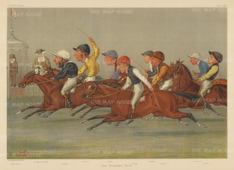 "Vanity Fair:The Winning Post. 1888. An original antique chromolihograph. 21"" x 15"". [SPORTSp3589]"