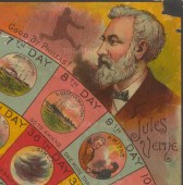 "Portrait of author Jules Verne and fictitious character from his book ""Around the World in 80 Days"", Phileas Fogg"