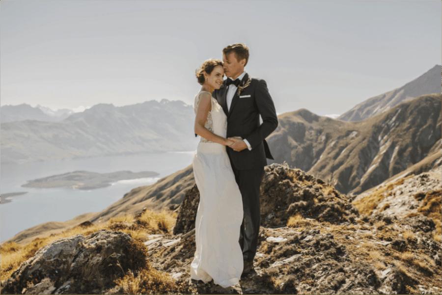 Mews' bride, Anna, tied the knot atop Ben Lomond in New Zealand in Laure de Sagazan's 'Chaplin' gown