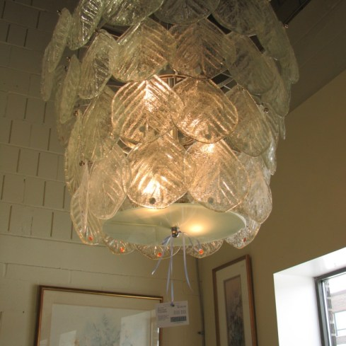 Glass Leaf Chandelier Brand New! Murano of Italy Nickel plated hardware 33″D x 28″H plus 42″ chain Location: Oakville Categories: Featured, Lighting $2,177.50 + tax