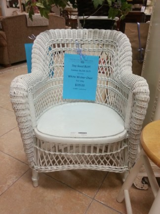 White Wicker Chair NOW $115.00