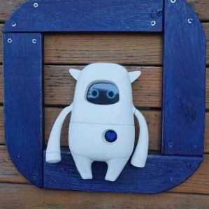 The robot Musio on a blue frame