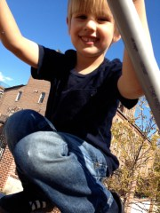 playing on the geodome on a beautiful, sunny fall day