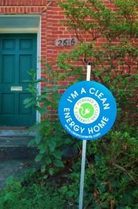 yard sign proclaiming sustainable energy use