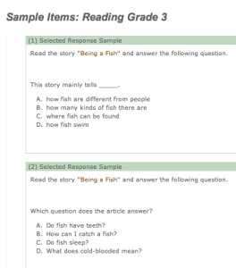 An example of Maryland's 3rd-grade standardized reading test.