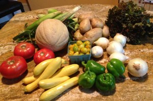 What a feast! Red and yellow tomatoes, green peppers, yellow squash, onions, potatoes, red leaf lettuce, sweet corn, and cantaloupe---sounds like a picnic waiting to happen!