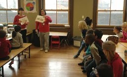 Xie Laoshi practices with the elementary students before their upcoming Port Discovery performance!
