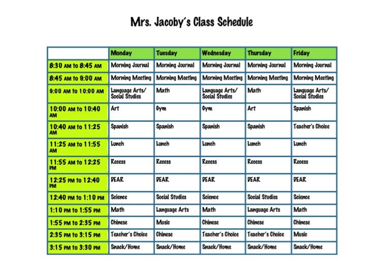 Kindergarten-Class-Schedule