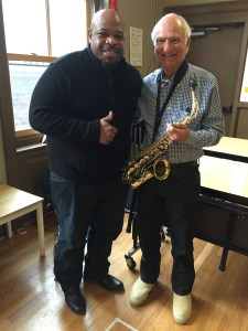Mr. Warren and a sax-playing TNCS granddad!