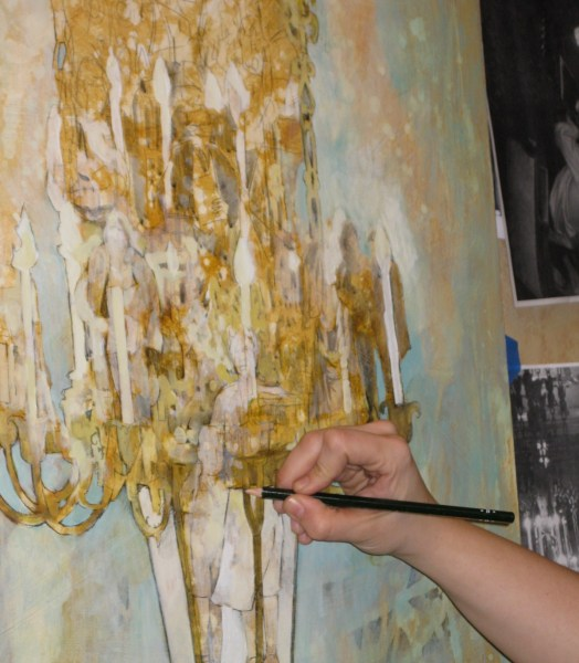 Stephanie is creating detail and embedding images of the characters I've written about in her chandelier.